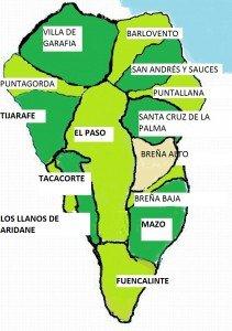 Eine Karte Der Insel La Palma Mit Eingezeichneten Ortschaften La Palma Wandern