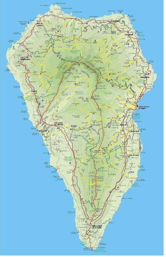 Wanderkarte, markierte Wanderwege, Insel La Palma,