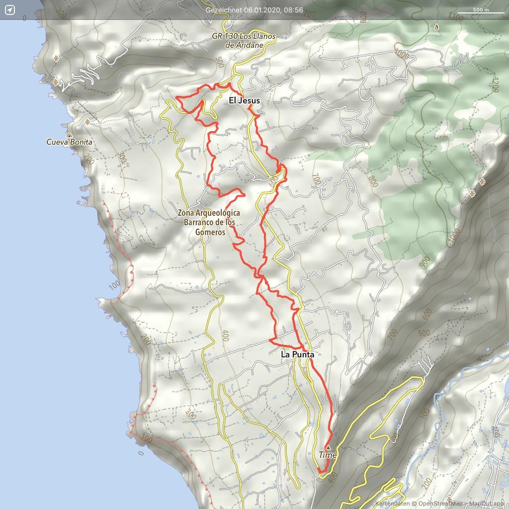 La Palma Wandern Landkarte Rundwanderung La Punta