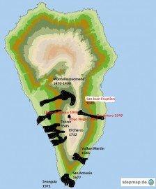 Landkarte Vulkane, LA Palma