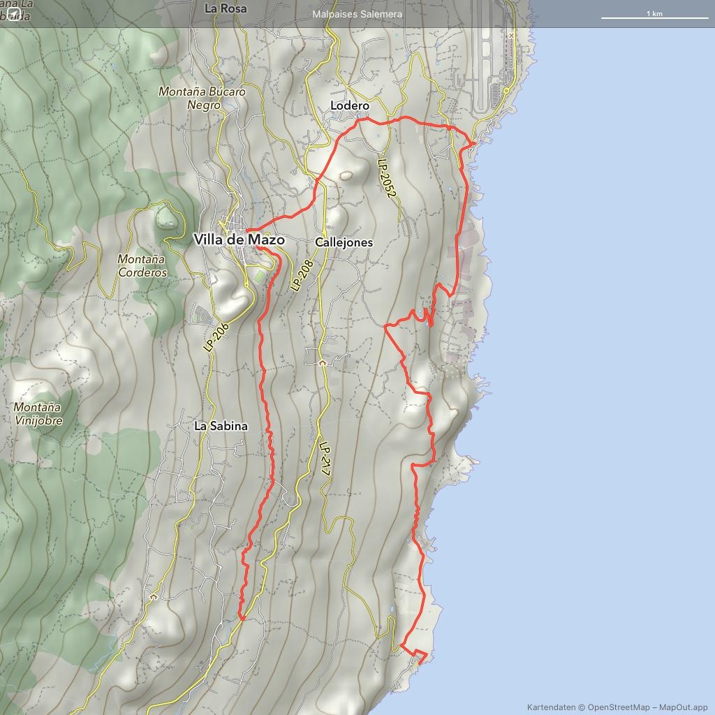 La Palma Wandern Landkarte der Wanderung