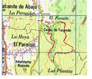 Landkarte mit Wegbeschreibung, La Palma