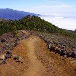 Beim Abstieg vor uns die Montaña de los Charcos, La Palma, Wandern,