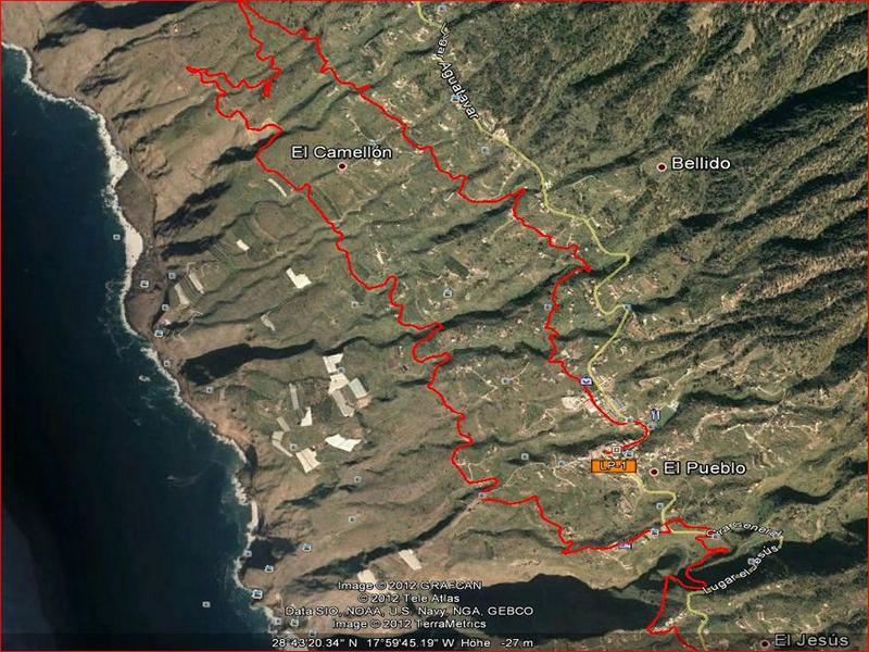 La Palma-Wandern-Wanderkarte-Quelle Google Earth