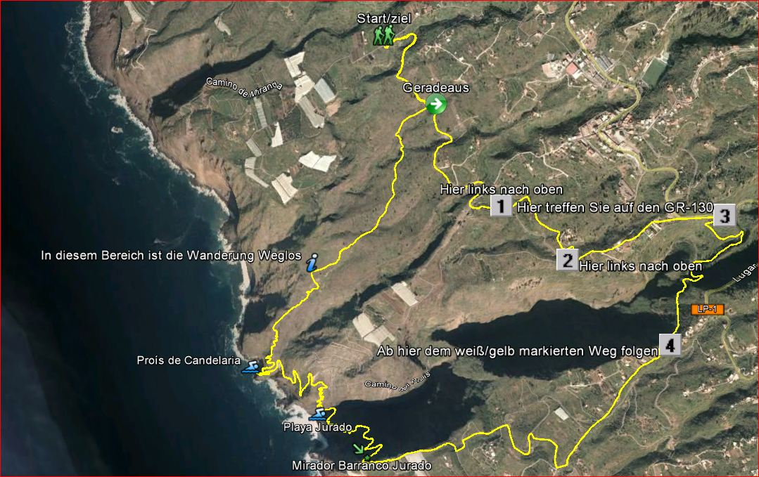 La Palma-Wanderung-Streckenverlauf-Google Earth