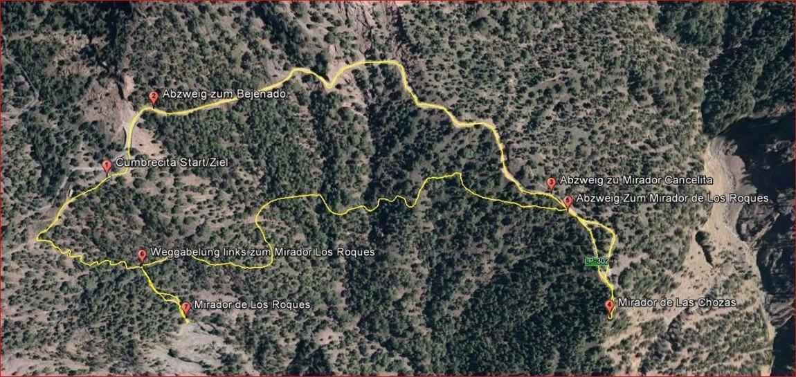 Wanderstrecke-Cumbrecita-La Palma