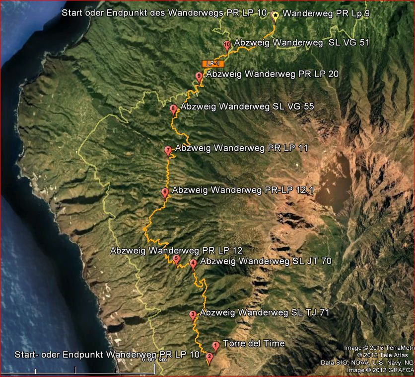 La Palma Wanderungen-Wanderstrecke LP 10
