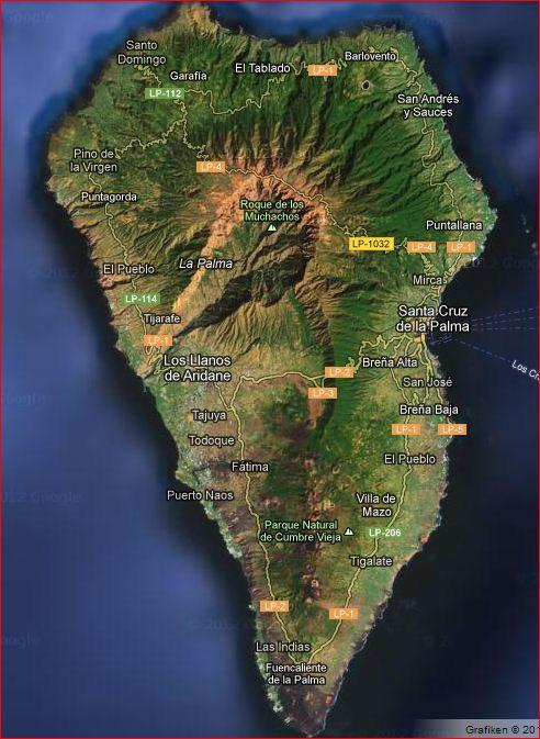 karte la palma Karte Google | Wandern La Palma karte la palma