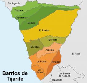 Ortsteile der Gemeinde Tijarafe