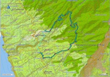 Strecke Wanderung Tijarafe la Palma
