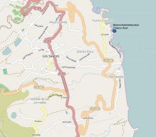 Karte Charco Azul La Palma