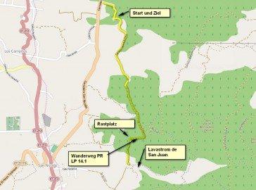 Karte Wanderstrecke,Tacande, La Palma,