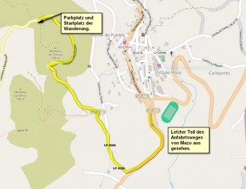 Anfahrtskarte Startplatz Wanderung Mazo La Palma